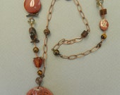 clearance OOAK Jade pendant and long stone necklace