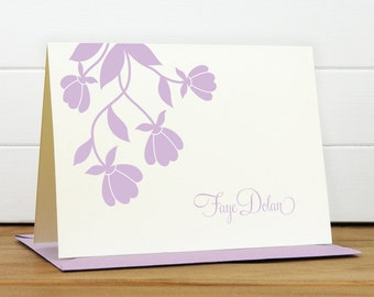 Personalized Stationery Set / Personalized Stationary Set - BLOSSOM Custom Personalized Note Card Set - Flower Cute Silhouette