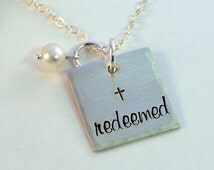 Redeemed Necklace, Sterling Silver Square with Cross and Freshwater Pearl, Handstamped