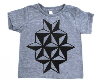 Infant and Toddlers Geometric Nautical Star Heather Grey TriBlend TShirt with Black Print