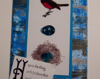 Emily Dickinson Quote Art - Bird Nest and Egg Mixed Media Collage Art - Hope Inspirational Wall Art - Emily Dickinson Art - Bird Collage