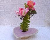 Valentine's Day Gift Vase . Doily Lace Ceramic Pottery Vase