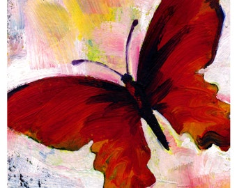 Red Butterfly ... art archival print from original painting by Kathy Morton Stanion EBSQ