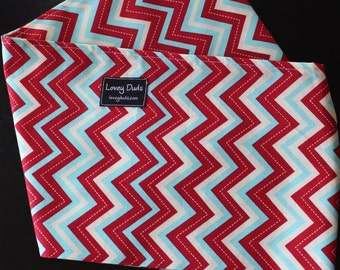 READY TO SHIP-Just Like Mommy Baby Doll Sling- Red and Blue Chevron-Works Well With The American Girl Dolls