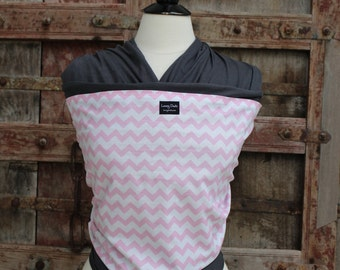 Baby Sling-ORGANIC COTTON Baby Wrap Sling Carrier-Light Pink Chevron on Gray-One Size Fits All-Newborn to Toddler-DvD Included