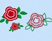 Flower Five Petals - Machine Embroidery Design File two sizes plus applique