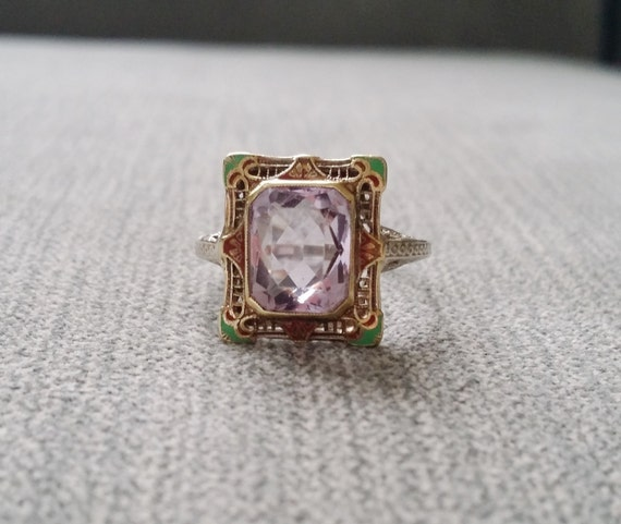 antique amethyst engagement ring enamel filigree two