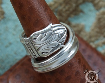 Danish Princess 1938 Spoon Ring - Doctor Gus Handcrafted from Upcycled Vintage Silverware - Sterling Silver Plated Boho Style Spoon Jewelry