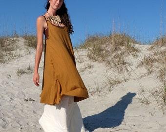 Organic Dress - Racer Back Tank Wanderer Short Dress (organic tissue cotton knit)  - organic dress