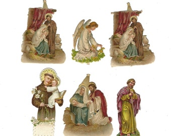 Vintage German Religious Die Cut Scrap Mixed Lot Set of 6 Pieces