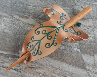 Elven Leaf  Leather Hair Slide  Or Shawl Pin - Bronze And Green Hair Accessory Barrette