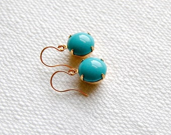 Aqua Glass Drop Earrings. Vintage Charms. Minimalist Jewelry. Gifts for Her. Small Blue Stone Earrings. Gifts Under 20. FREE Shipping in US