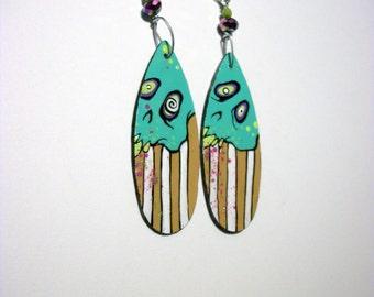 Turquoise Goofy Skulls ZombieHead Earring