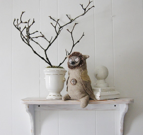 Owl, Soft Sculpture, Folk Art Doll, Collectible Art Doll, Tweedie Owl