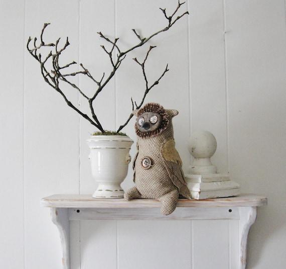 Owl, Soft Sculpture, Folk Art Doll, Collectible Art Doll, Tweedie Owl