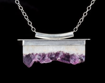 Flourite Pendant in Sterling Silver, Purple and white, crystal, Zen, fluorescent