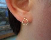Stud Earrings - Teardrop Gold Earrings, Gold Stud Earrings, Post Earrings, 14K Gold-fill Earrings