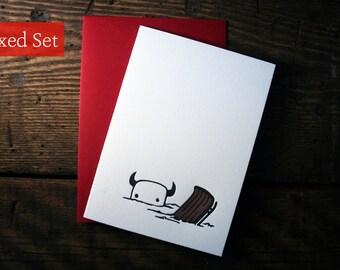 Letterpress Winter Sledding Monster Card - Boxed Sets