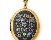 Art Locket - Chalkboard Art Locket Necklace - To Travel Is To Live