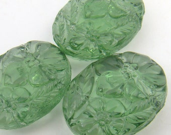 3 pcs two hole glass beads, green, vintage repro German oval 20mm