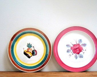 2 Plates -  Blue Ridge Hand Painted Dinner Plates Flowers and Fruits