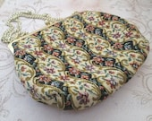 Vintage Tapestry Bag, 1970s, Flower Fabric Bag, small fabric purse, carpet bag, floral tapestry bag, purse chain handle, floral purse