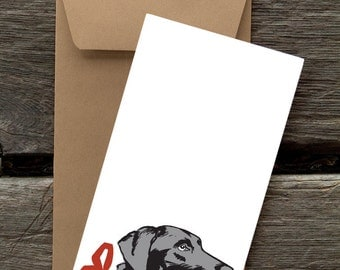 Black Lab with Ribbon - 8 Blank flat notecards and envelopes