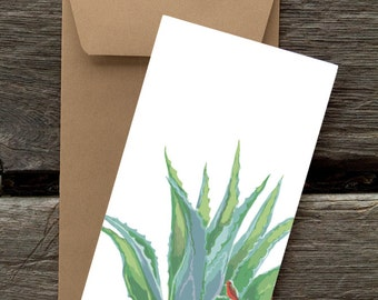 Agave and Flycatcher -- 8 Blank flat cards and envelopes