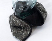 Hooded Cowl in Knobby Charcoal Wool with Black Linen Lining - Womens Hats, Mens Hats, Cozy Cowl, Comfy, Winter Hoodie, Winter Hat