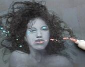 Tangled, Original Mixed Media Female Portrait Painting