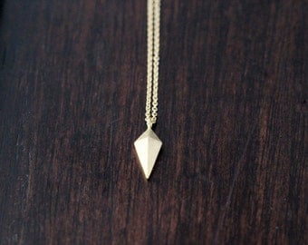 Dainty Gold Necklace , Arrowhead Charm Layering Necklace , Minimalist Gold Jewelry , Spike Pendant
