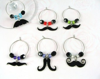 Moustache Wine Charms
