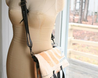 NEW! Cross Body Floppy Bag made from recycled materials with bike tube handles!