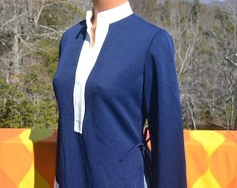 vintage 60s women's shirt LESLIE FAY tunic henley nautical stripe side tie blouse 70s Medium navy white