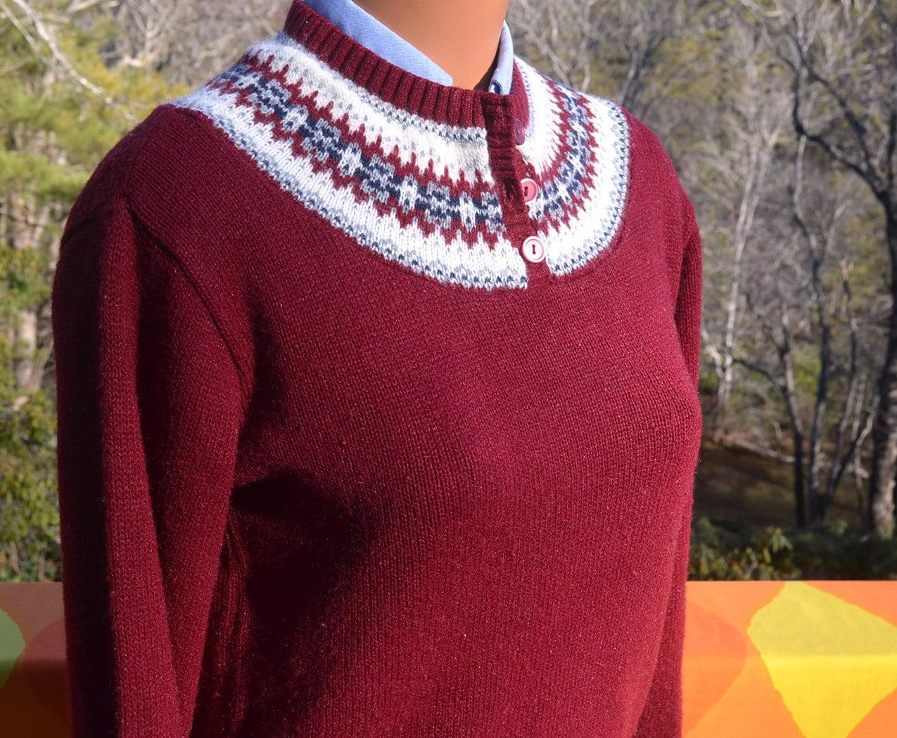 Vintage Fair Isle Sweater - Gray Cardigan Sweater