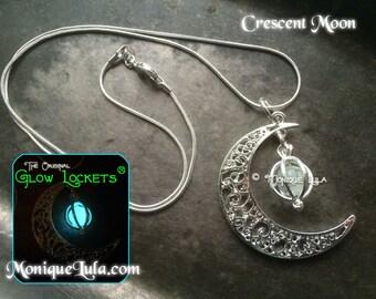 Crescent Moon Glow Locket Orb Necklace