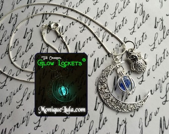 Glowing Crescent Moon Owl Orb Necklace