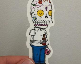 Homer Calavera Clear Die-cut Vinyl Sticker Day of the Dead
