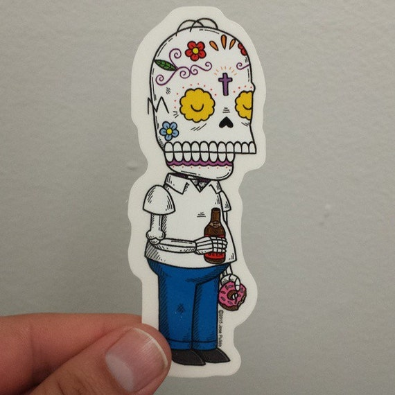 Homer calavera clear die cut vinyl sticker day of the dead from misnopalesart on etsy studio