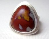 Noreena Jasper Ring, Sterling Silver Ring, Gemstone Ring