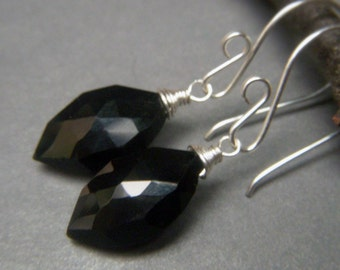 Black Spinel Earrings, Sterling Silver, Everyday Black Earrings, Briolette Gemstone Earrings, Wirewrapped Black Dangle, Marquis Gemstone
