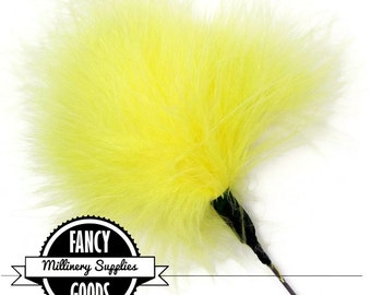 SALE - Yellow - Feather Pom Pom Pick - Marabou - Ostrich Feather Pick - Poof - Millinery Feather - Bouquet Pick
