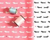 Dachshund Fabric / Doxie Fabric / Dog Print / Fat Quarters / Pink Fabric / Kona Cotton