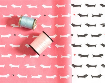 Dachshund Fabric / Doxie Fabric / Dog Print / Yardage / Kona Cotton / 1 Yard / Coral Pink / Black and White / Gray