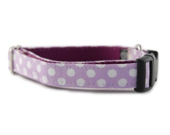Lavender Dog Collar - Lilac Dot Dog Collar - Adjustable dog collar - Purple dog collar - Polka Dot Dog Collar - Girl Dog Collar