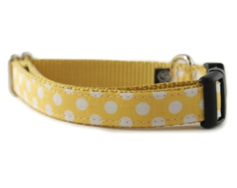 Yellow Dog Collar - Yellow White Polka Dot Dog Collar - Lemon Dot Dog Collar - from Sophisticated Pup- boy dog collar- girl dog collar
