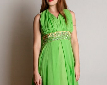 Vintage 1960s Chiffon Dress - Bright Lime Green Party Dress with Cape - Medium Large