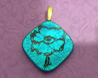Aqua Blue Pendant, Fused Glass Pendant, Ready to Ship, Glass Fusing Jewelry, Large Gold Bail, Fused Glass Jewelry - On My Own - 3224 -5