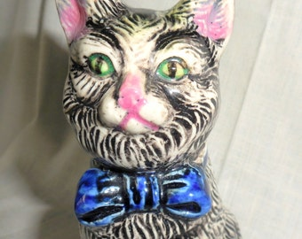 Vintage Green  Eyed Black and White Kitty Cat Planter remade into Pin Cushion