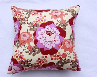 Amy Butler Floral Cushion with Peach and Purple Tones B